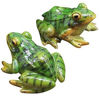 VOSAREA 2pcs Frog Statue Mini Frog Resin Animal Sculpture Indoor Outdoor Decor for Garden Patio Yard Micro Landscape Fairy Garden Ornaments