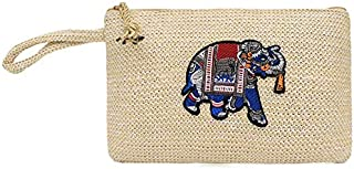TOOGOO Woven Embroidery Pouch New Trendy Wild Messenger Bag Tote Knitting Shoulder Messenger Bag Elephant