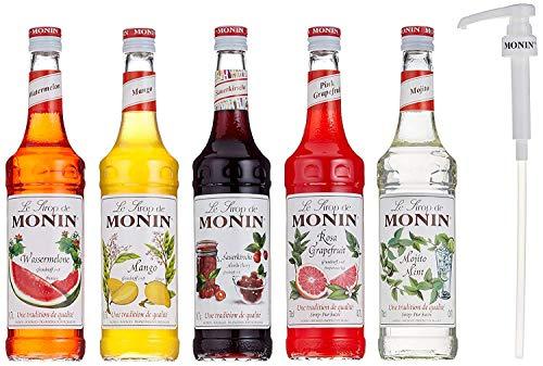 Monin Cocktail-Set 5+1, Sauerkirsche, Mojito Mint, Wassermelone, Mango, Pink Grapefruit - Sirup für Cocktails mit Pumpe, 5 x 0,7 Liter