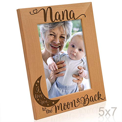 KATE POSH - Nana I Love You to The Moon and Back Engraved Natural Wood Picture Frame, for Grandma, Birthday Gifts, Best Grandma Ever, Granddaughter & Grandson (5x7-Vertical)