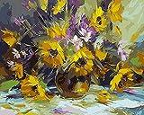 AOTAO Pintura Sin Marco Por Números Diy Cuadro Pintura Al Óleo Sobre Lienzo Para Decoración Del Hogar Pintura Animal 40X50Cm Flor Amarilla