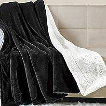 Wavve Manta Sherpa Franela Reversible 130x150 cm, Manta Polar Pequeña para Cama 80, Manta Felpa de Sofá, 100% Microfibra, Suave, Caliente, Transpirable para Hogar, Oficina, Viaje (Negro)