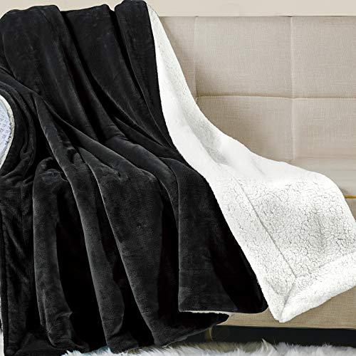 WAVVE Manta Sherpa Reversible 270x230 cm para Cama 180, Manta Felpa de Sofá, Microfibra, Suave, Caliente, Transpirable para Hogar,Manta Sofa Grande, Oficina, Viaje (Negro)