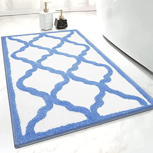SHACOS Tappeto da Bagno Antiscivolo Grande 70X120cm Tappetini per Il Bagno Morbido Pelo Lungo Tappeti da Bagno Microfibra Assorbenti Lavabile in Lavatrice, Blu