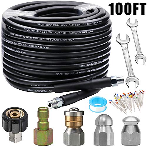 Sewer Jetter Kit 100FT for Pressure Washer, 5800PSI Drain Cleaner Hose 1/4 Inch NPT, Corner, Rotating and Button Nose Sewer Jetting Nozzle with Spanner Waterproof Tape Pearl Corsage Pin.