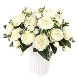 XONOR 3 Bouquets de Fleurs artificielles en Soie Pivoine Artificielle Fausse Fleur glorieuse pour la décoration de Maison Nuptiale de Noce, 5 fourchettes, 9 têtes (Blanc)