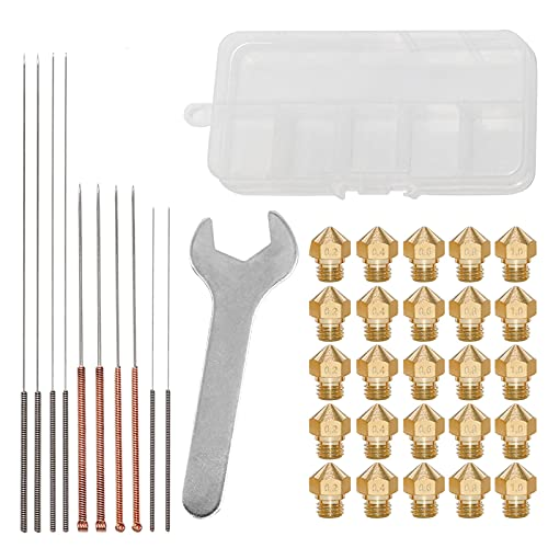 Bisofice Kit de herramientas de mantenimiento de boquillas de impresora 3D MK10 M7 Extrusora de rosca Boquilla de latón Cabezal de impresión de 0,2/0,4/0,6/0,8/1,0mm con aguja de limpieza Llave