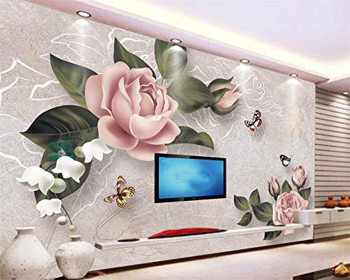 ZJfong Aangepaste behang Europese stijl Retro Rose Sofa TV achtergrond wandsteun Decoratieve wandafbeelding 3D wallpaper 330 x 210 cm.
