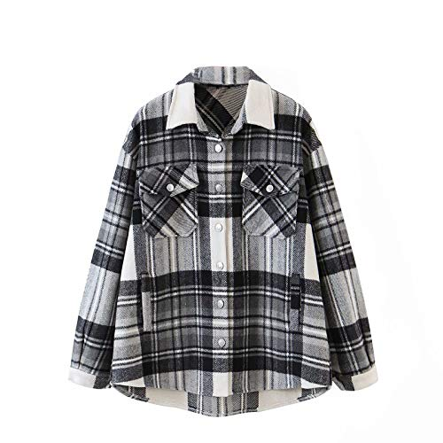 Women's Casual Plaid Button Down Long Sleeve Shacket Jacket Shirt Collared Boyfriend Shirt Blouse Top Oversized (Small,Checked- Black #2)