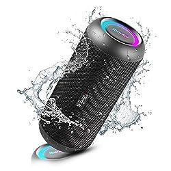 Enceinte sans fil à 360 ° - RIENOK enceinte Bluetooth équipé de 2 diffuseurs magnétiques internes 60mm, 30W et 2 radiateurs à basse fréquence 65mm, vous offrant un effet stéréo 360 ° vraiment exceptionnel Haut-parleur Bluetooth avec lumières pulsées...