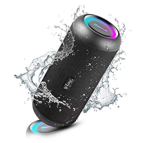 Rienok Bluetooth Lautsprecher tragbar kabellos Musikbox 30W extra Bass LED Lichteffekte wasserdicht IP67 Mikrofon und Stereo Sound Bluetooth 5.0