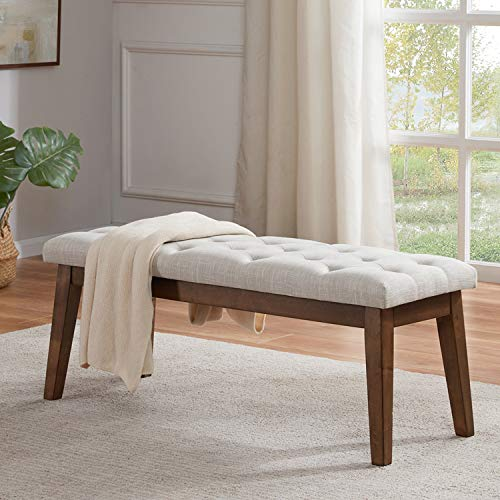 HUIMO Bedroom Bench End of Bed, Upholstered Dining Bench for Kitchen, Button-Tufted Entry Bench, Fabric Ottoman Bench for Living Room, Entryway (Beige) …