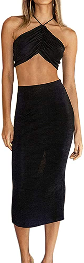 Murfhee Women's Sexy Halter Crop Top and Ruched Midi Skirts Set Bodycon Backless Two Piece Skirt Suits
