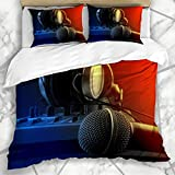 Juegos de Fundas de edredón Producción de radiodifusión Micrófono Mezclador Auriculares Estudio de música Tecnología Shadow DJ Radio Sonido Ropa de Cama de Microfibra con 2 Fundas de Almohada Cuidado
