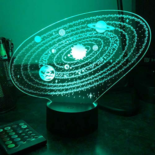 Outer Space Solar System 3D Optical Illusion Table Lamp 3D Led Night Light for Christmas Gift
