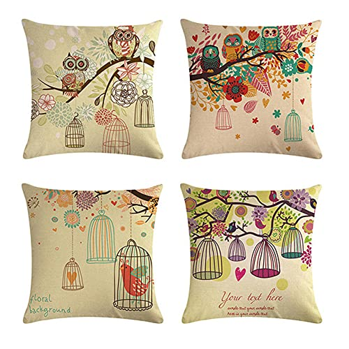 Cushion Covers 35x35cm/14x14in, Set of 4 Throw Pillow Case Fine Linen Square Pillowcase Double-Sided Printing Sofa Cushions Covers with Lnvisible Zipper Cushions Cover Birdcage Branches