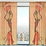 Mnsruu Cortinas transparentes para ventana, étnica africana, de tul suave, para...