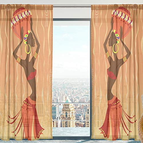 Mnsruu Cortinas transparentes para ventana, étnica africana, de tul suave, para sala de estar, dormitorio, 140 x 213 cm, 2 paneles