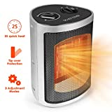 Electric Space Heater, 750-1500 Watt PTC Ceramic Space Heater, Overheat Protection and Carrying Handle, for Desk/Office/Home/Bedroom