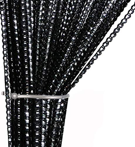 AIZESI String Door Curtain Fly Insect Bug Screen String For Doorways Divider or Window Curtain Panel 39'x78.5' (Black)