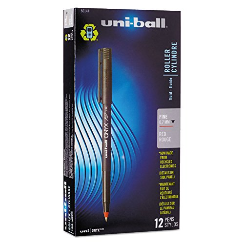 Uni-ball Onyx Stick Fine Point Roller Ball Pens, 12 Red Ink Pens(60144)