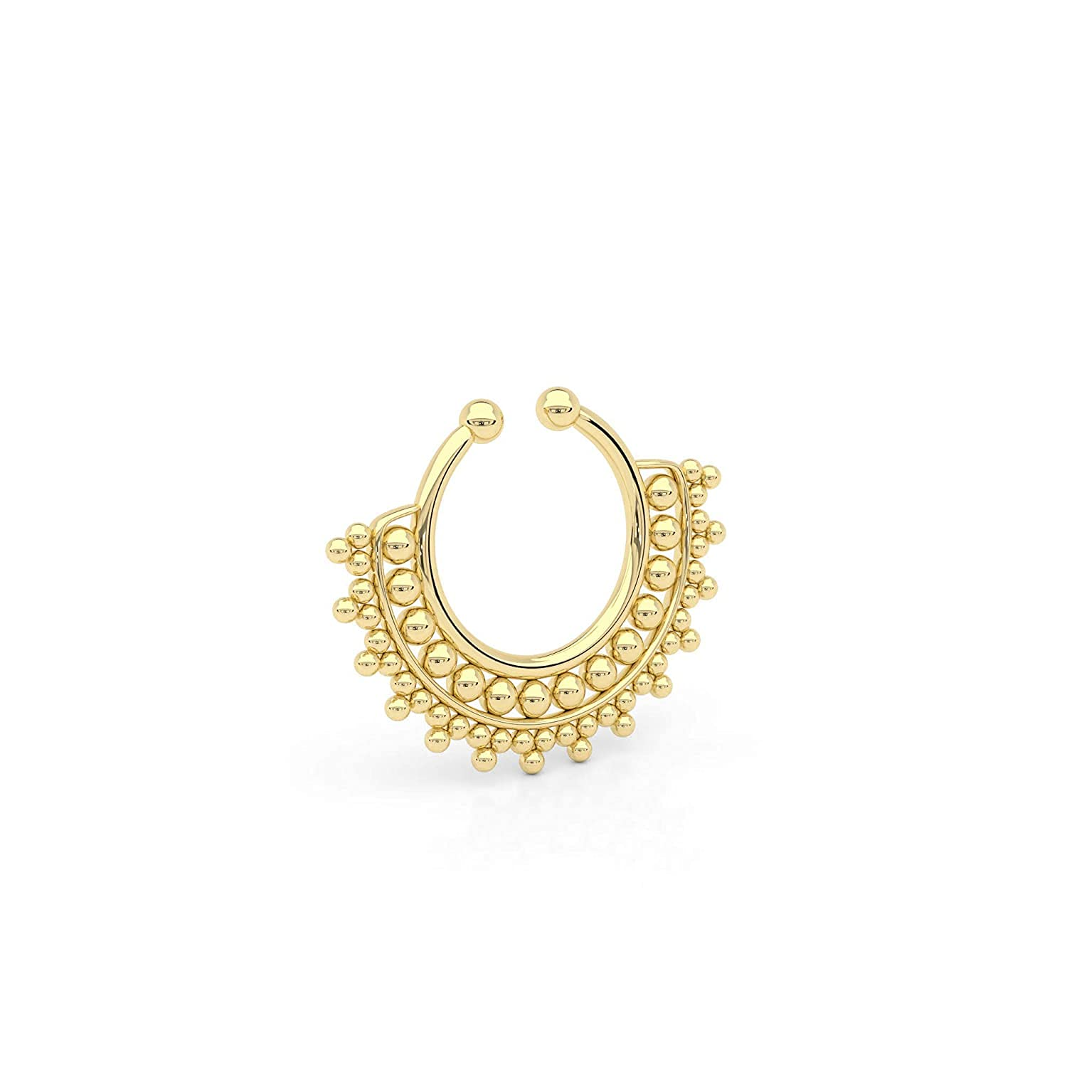 Tiny Gold Fake Septum Nose Ring Indian Brass C Faux Plated Safety and trust New life