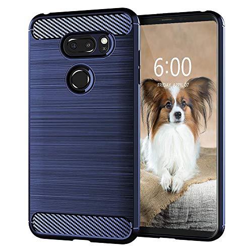 KEEPCA Kompatibel mit LG V35 Hülle, LG V30 Hülle, V35 ThinQ Handyhülle, schmal, weiches Silikon, TPU, Gummi, kratzfest, stoßdämpfende Karbonfaser, Schutzhülle für LG V30, blau gebürstet
