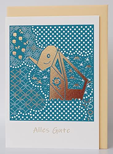 "NEU CherriFriends® Glückwunschkarte\""Glücks-Elefant\"" gold veredelt Alles Gute, Karte Gute Besserung, Grußkarte Alles Gute, Geburtstagskarte Frau Mann, Karte Allgemein, Grußkarte Viel Glück,Viel Erfolg"