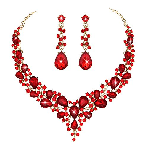 Molie Youfir Bridal Austrian Crystal Necklace and Earrings Jewelry Set Gifts fit with Wedding Dress(Red)