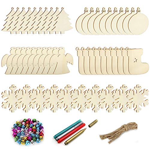 Colovis 50 Pcs Unfinished Wooden Christmas Ornaments,Natural Wood Slices Christmas Tree Ornaments with 50pcs Jute Twine 50 Colorful Bells 4 Color Pens for DIY Art Crafts,Christmas Gift Decoration.