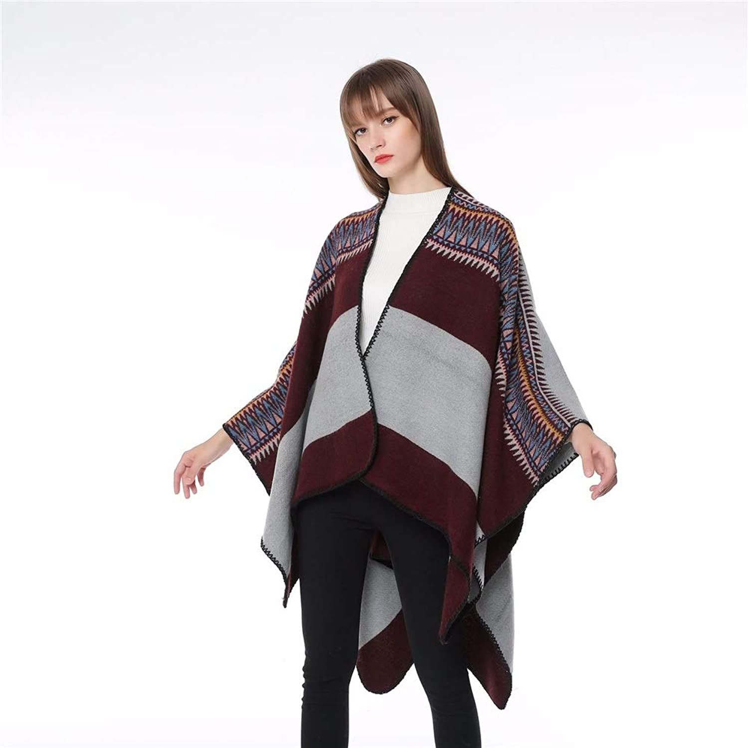 Womens Cape Poncho Coat Women's Simple Striped Florals to Increase Warm Slit Shawl for Daily Wear Cardigan Cloak Jacket for Winter Cocktail (color   Wine red)