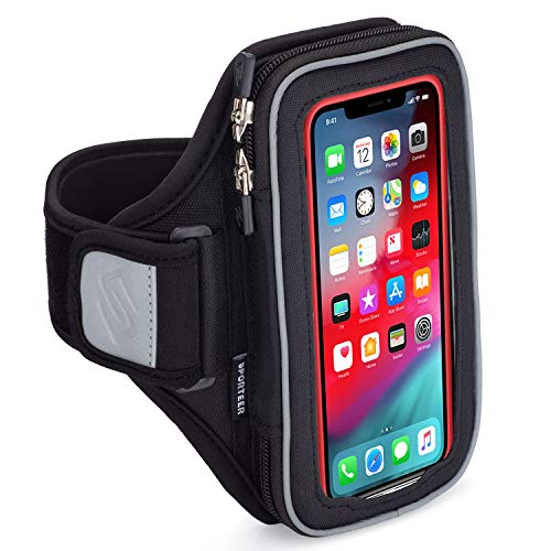Sporteer Velocity V8 Running Armband - iPhone 12 Pro Max, 11 Pro Max, Xs Max, iPhone 12, XR, 8 Plus, Galaxy S21+, S20+, S21, S20, S10 Plus, Note 9, Pixel 4 XL, LG, Moto - FITS CASES