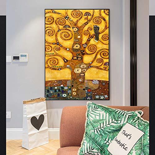 Frameloos Gustav Klimt Levensboom Wall Art Canvas Prints Leven Boom Beroemde Schilderij Replica Gustav Klimt Canvas Schilderij Voor Woonkamer <> 50x75cm