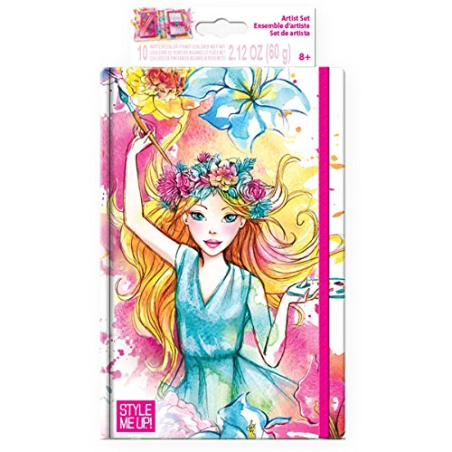 Style Me Up - Creative Craft Kit - Set of Watercolor Paints, Pencils, Brushes and Coloring Book for Girls - SMU-1310