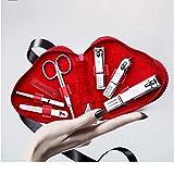 Set de uñas Set de manicura Kit de pedicura Pedicure Kit de clavos Set 6pcs Professional Hombres Kit de aseo de acero inoxidable Portátil Travel Juego de uñas Mujeres Red Corazón En forma de Caja de C