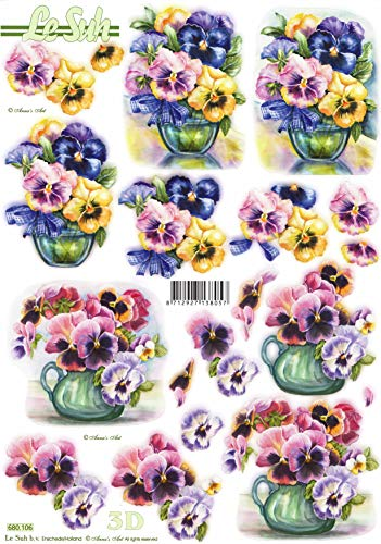Pansy Flowers in Vases Die Cut 3D Decoupage Sheet from Le Suh - NO Cutting