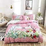 OLDBIAO Bettwäsche Set 3D Cartoon Einhorn, Kinder Mädchen Bettwaren, Soft Gebürstet Bettbezug mit Reißverschluss + 50x75cm Kissenbezug (Rosa, 135x200 cm)