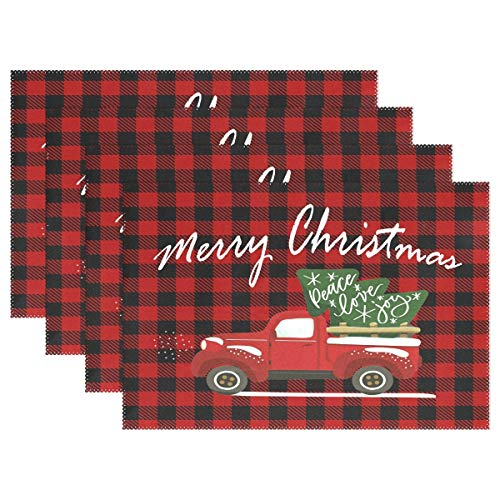 visesunny Merry Christmas Red Buffalo Plaid Truck Placemat Set of 6 Table Mat Desktop Decoration Placemats Non Slip Stain Heat Resistant 12x18 in for Dining Home Kitchen Indoor