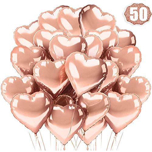 Globos de Papel de Aluminio BESTZY Globos de Corazón Oro Rosa Globos en Forma de Corazón 10 Pulgadas para la Decoración del Boda Cumpleaños