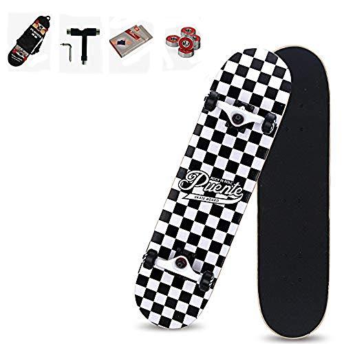 WRISCG Skateboard Skate Board Komplettboard Deck Holzboard Ahornholz, Farb- & Motivauswahl, konkave Deckform mit Doppel-Kick, Mit Rucksack, Handschuhe, Werkzeug, Kugellager, VOMI,D