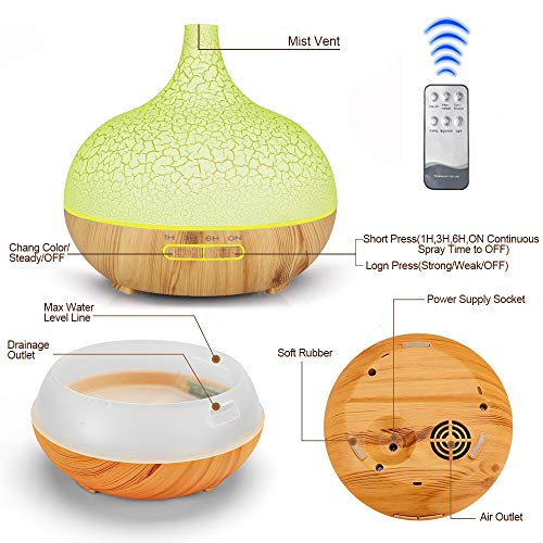 ENHOOTA-Diffuser-400ML-Essential-Oils-Aromatherapy-Diffusers-Wood-Grain-Humidifier-Electric-Ultrasonic-Air-Aroma-Diffuser-with-4-Timer-Cool-Mist-Waterless-Auto-Off-Mist-Mode-7-Color-LED-Lights