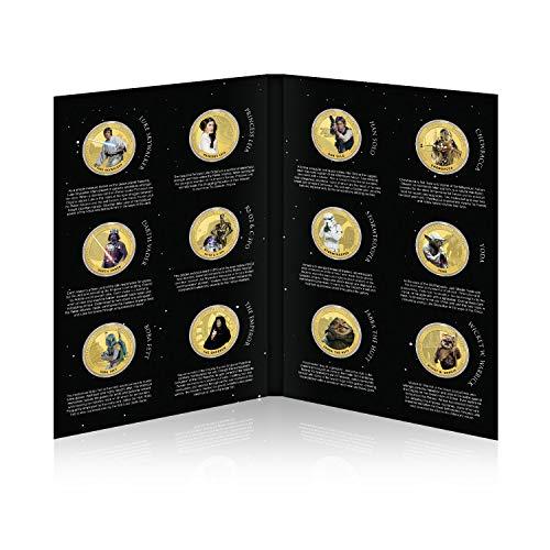 IMPACTO COLECCIONABLES Star Wars Münze - Episode IV - VI Original-Trilogie Komplett-Sammlung - 24 Karat vergoldet mit Farbe 44mm - Plus KOSTENLOSES Sammlerpaket