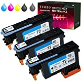 Tuobo HP72 Remanufactured printheads C9380A C9383A C9384A with New Updated Chips Compatible with HP Designjet T610 T620 T770 T790 T1100 T1120 1200 T1300 T2300 (1 Set Printhead)