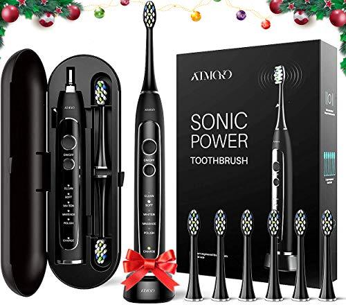 Brosse à Dents Sonique Electrique ATMOKO, 6 Têtes de Brosse Sonique Remplaçables avec Poils Tricolores et 5 Modes, Rechargeable...