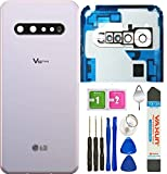 V60 Back Glass Replacement Door Housing Cover Panel W/Camera Lens Assembly Parts for LG V60 ThinQ V600 5G All US Verison + Eject Pin W/Tools (V60 W/Camera Lens-White)