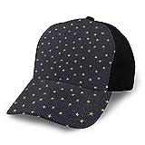 Photo de Moruolin Baseball Cap Hat for Men & Women,Hand Drawn Style Yellow Stars and White Dots Celestial Midnight Print