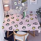 Mantel Antimanchas Rectangular Protector de Mesa Lavable Impermeable Manteles 140X180Cm Mantel Rectangular Adecuado para La decoración de La Cocina - Conejito Rosa de Dibujos Animados