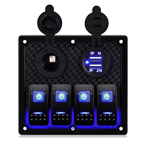 Bostar Interruptor basculante con 4 interruptores de 12 V, doble carga USB, impermeable, para coche, barco, mar (azul)