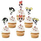 18pcs Powerpuff Girls Cupcake Toppers - Cartoon Party Glitter Buttercup Blossom Bubbles Cupcake Supplies - Pink Girl's Birthday Party Decorations
