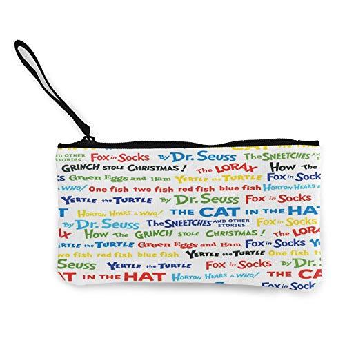 Celebrate Seuss Book Titles Canvas Student Pencil Case Box Pen Pouch Coin Purse Pouches Cosmetic Makeup Bag